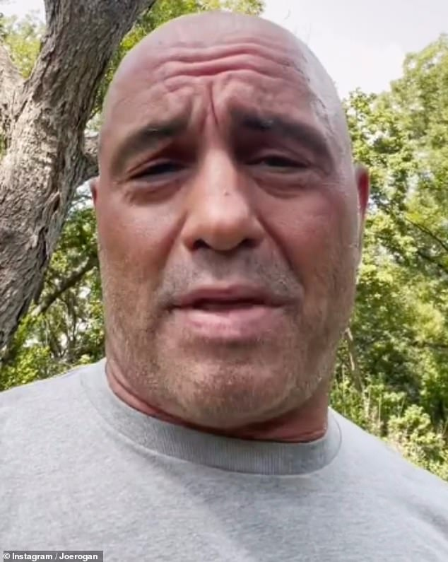 Rogan has made controversial comments criticizing vaccines and coronavirus lockdown measures. In a video last month, above, he said he caught COVID while performing in Florida