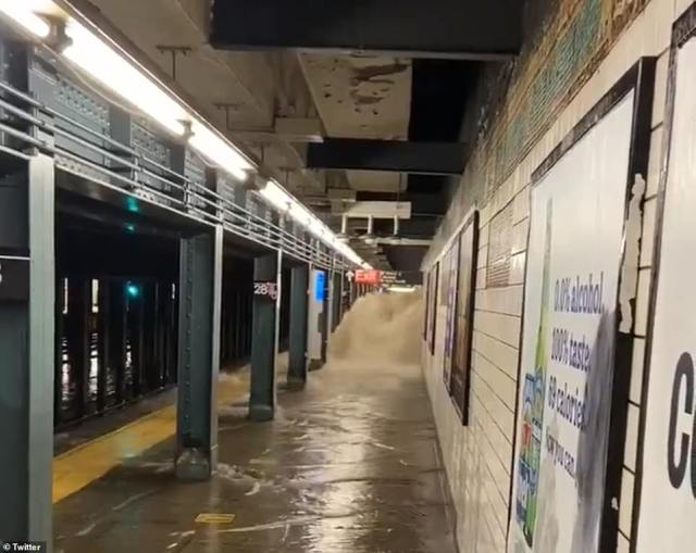 MANHATTAN, NEW YORK CITY: A cascade of water is seen pouring into a New York City train station at 28th Street station in Kip's Bay, a neighborhood in downtown Manhattan. A flash flood emergency was declared in New York City for the first time ever on Wednesday as Ida slammed the northeast after wreaking havoc in southern states for days