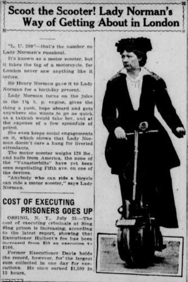 A newspaper cutting about Lady Norman's scooter use in London, circa 1916.The vehicle became a symbol of woman's empowerment, with an advert featuring a Flapper riding an Autoped appearing in Puck magazine
