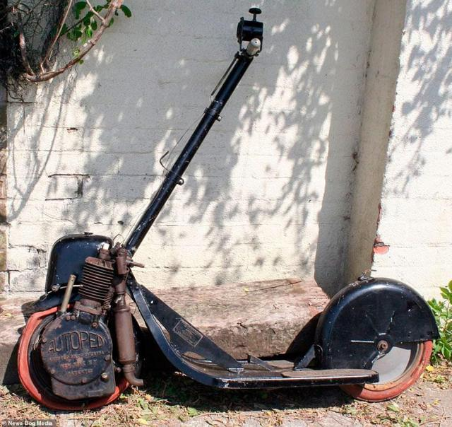 A surviving Autoped machine - image taken in the modern era.The contraptions fell out of fashion until 2020, when companies began putting hundreds of the vehicles onto the streets of Britain in trial schemes that have proved controversial