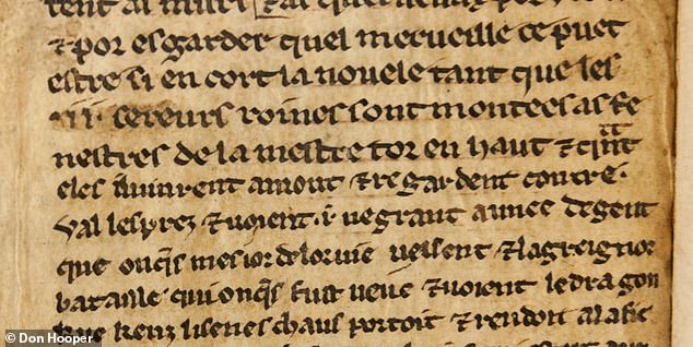 Experts from the Universities of Bristol and Durham believe that the fragments represent some of the earliest surviving examples of their section of the story. Pictured: this close-up of one of the manuscript fragments has revealed that it was penned by two different hands