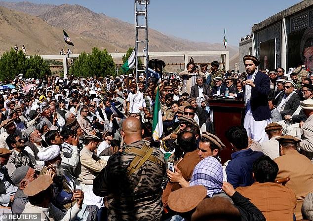 Pictured, file photo:Ahmad Massoud, son of the slain hero of the anti-Soviet resistance Ahmad Shah Massoud, speaks to his supporters in Bazarak, Panjshir province, September 5, 2019