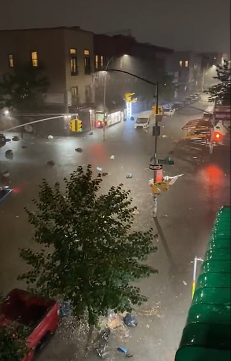 A surreal video of Bushwick, Brooklyn, shows cars and trucks submerged in water from Hurricane Ida on Wednesday night