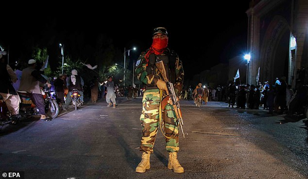 Boris Johnson said that the US removing its air cover for the Afghan army allowed Islamic extremists to catch the West on the hop. Pictured: People celebrate US withdrawal in Kandahar