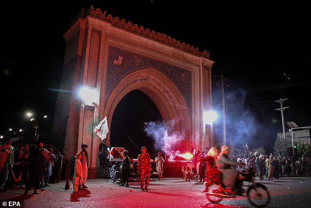 The Taliban has been celebrating its conquest over Afghanistan since British and US forces officially withdrew from the country on August 31. Pictured: People celebrate in Kandahar