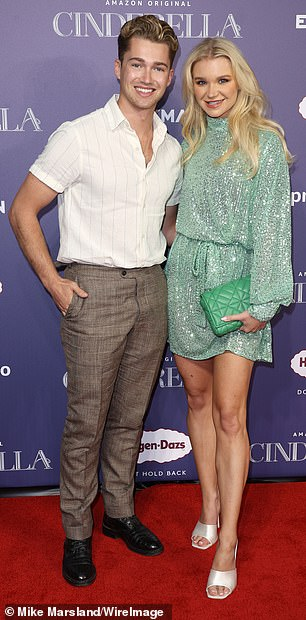 What a pair:Strictly pro AJ Pritchard combined a pin-stripe cream shirt with a pair of tartan brown trousers while his influencer girlfriend Abbie Quinnen caught the eye in a shimmering lime mini dress