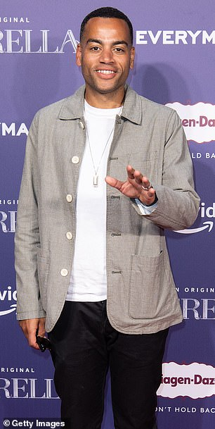 Dressed down: Ben Bailey Smith kept things casual in a stone jacket, white T-shirt and black trousers