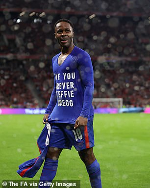 Sterling showed a message saying 'Love you forever Steffie Gregg' in memory of his friend who was pronounced dead on Tuesday