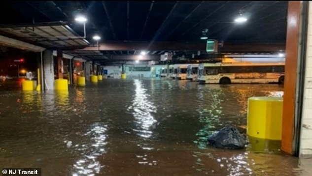 A photo from NJ Transit shows the Oradell Bus Garage filled with water after the storm