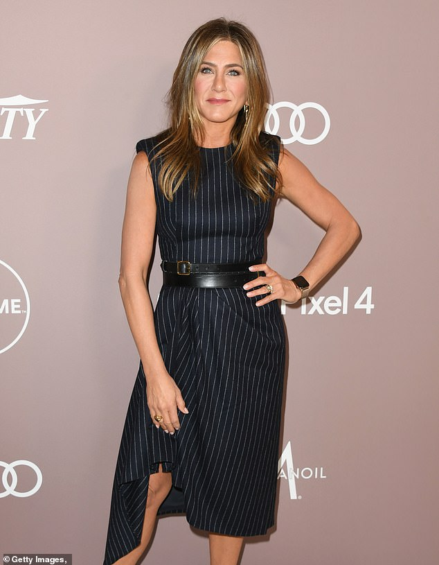 Trademarked:'An application was filed to trademark the name LolaVie in the areas of face and body lotion, shower gel, candles and hair care in July 2019,' according to documents obtained by Page Six; Aniston pictured in 2019