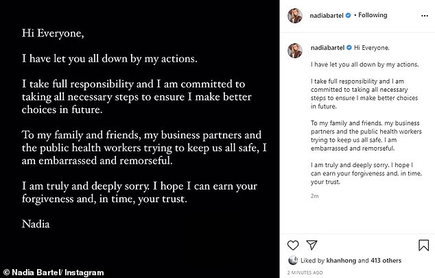 Apology: Breaking her silence in a post shared to Instagram on Friday afternoon, the 36-year-old mum of two wrote: 'Hi everyone, I have let you all down by my actions. I take full responsibility and I am committed to taking all necessary steps to ensure I make better choices in future'