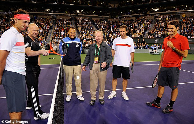 Rafael Nadal (left) Andre Agassi (second left), Pete Sampras (second right) and Roger Federer (right) were involved in a doubles charity match at Indian Wells in 2010
