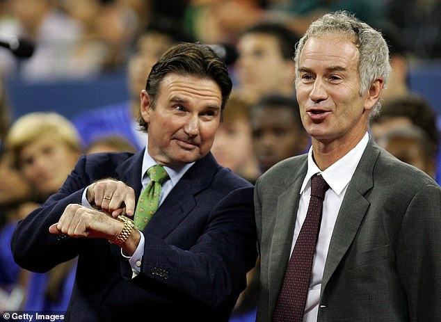 Jimmy Connors (left) and John McEnroe are pictured on better terms together back in 2006