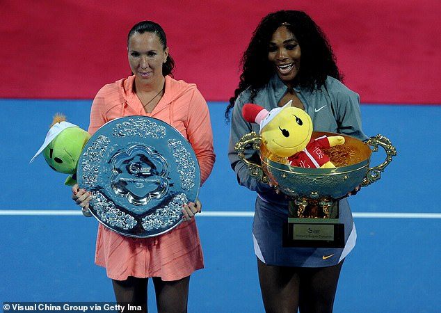 Serena Williams (right) and Jelena Jankovic (left) have rowed a couple of times on court, with the duo pictured above following the final of the 2013 China Open
