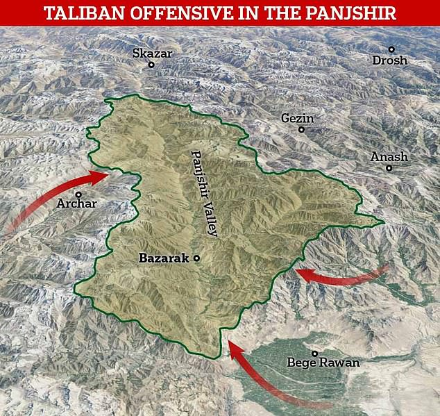 The Taliban are attempting to breach the steep sides of the Panjshir Valley through the Khawak Pass in the northwest, through Golbahar in the south and from the Anaba district to the southeast