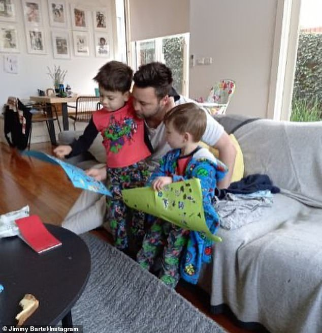 Special occasion: Jimmy Bartel, 37, celebrated Father's Day with his two sonsAston, four, and Henley, two, on Sunday - two days after footage of his ex-wife Nadia breaking lockdown and 'snorting cocaine' went viral