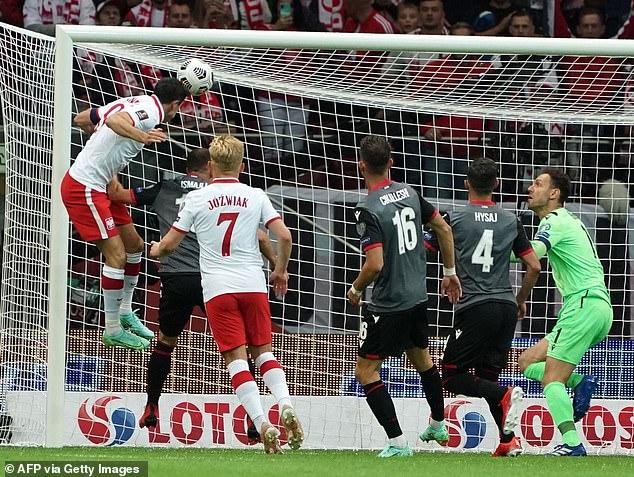 The Bayern Munich striker's towering header set Poland on their way to a 4-1 win in Warsaw