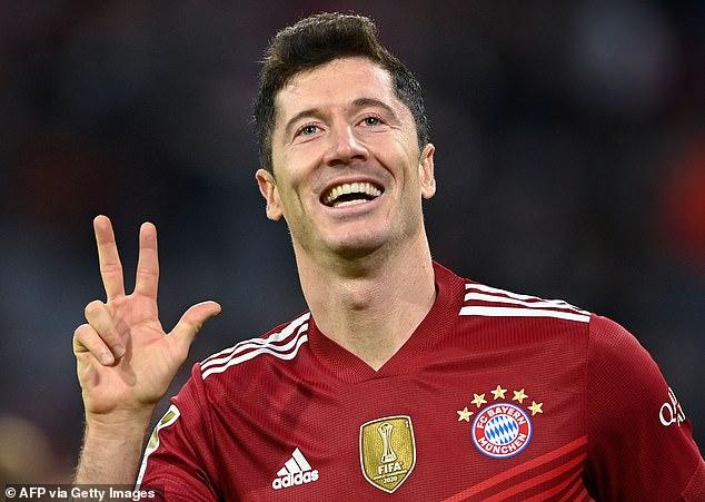 Lewandowski marks his hat-trick goal in Bayern Munich's recent 5-0 thrashing of Hertha Berlin