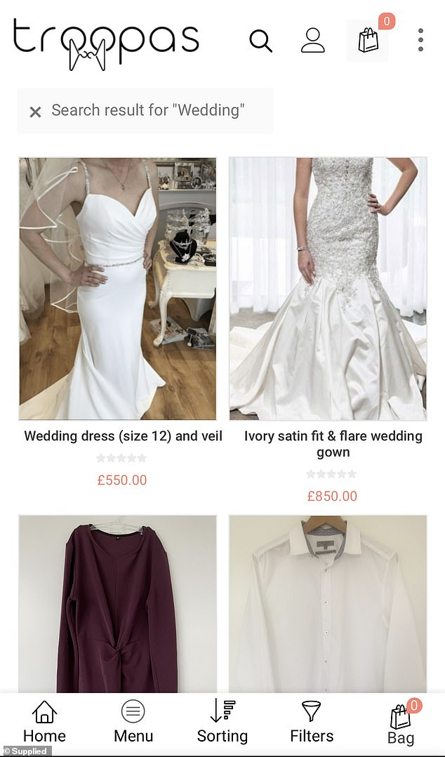Nikki and Maria, an operations manager in the gaming industry, have recently introduced a third membership - Star Troopas - for charities that are store-based and don't have an online marketplace to sell clothes (pictured: two wedding dresses currently for sale on Troopas)