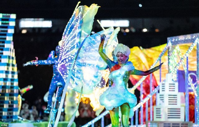 The performance of Harmonious Cacophony during the Closing Ceremony at the Olympic Stadium, where entertainers donned their brightest and most unusual clothes to celebrate the end of the Games in style