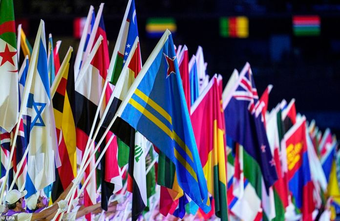 Flagbearers flew the flags of all the nations that had taken part in the Games at the end of the ceremony
