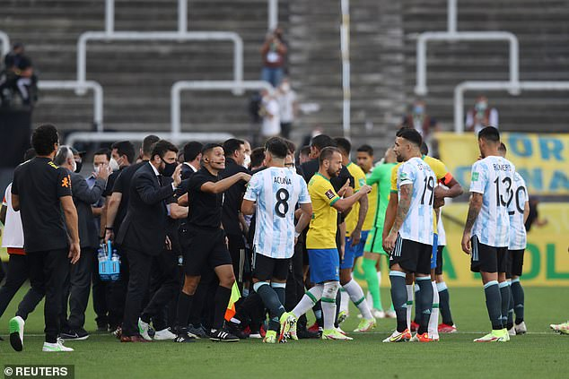 Health authorities stormed the pitch in Brazil versus Argentina to detain four Premier League players