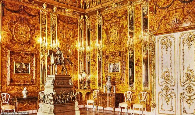 The Amber Room was an opulent jewel-studded chamber built in 18th-century Prussia that was installed in the Catherine Palace near Saint Petersburg, Russia