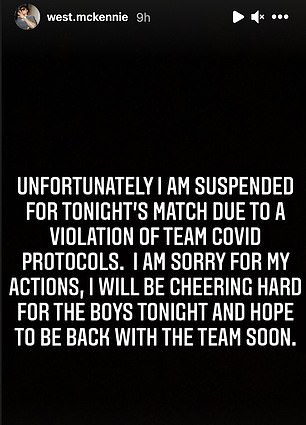 He issued an apology on social media after missing the 1-1 draw with Canada
