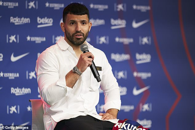 Sergio Aguero (above) has outlined the drastic measures that Barcelona have taken to cut costs and keep the club afloat after amassing £1.15billion worth of debt