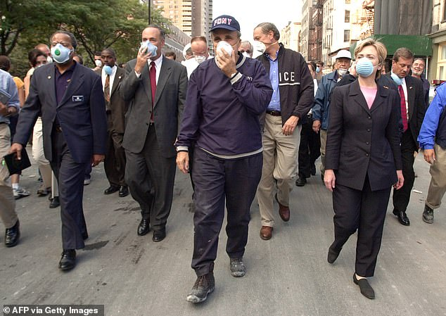 'I think we're back where we started from,' said Rudy Giuliani, the man who became known as 'America's Mayor' for his strong leadership following 9/11, a reputation he's since squandered defending Trump from the indefensible. 'The whole purpose of that war was to have our soldiers there so they couldn't plan to come and attack us. So now what has Biden done? He's taking the soldiers out. This is like a field day for terrorists.' I would argue that it's even worse than Giuliani fears. Pictured: Giuliani visits Ground Zero a day after the 9/11 attacks