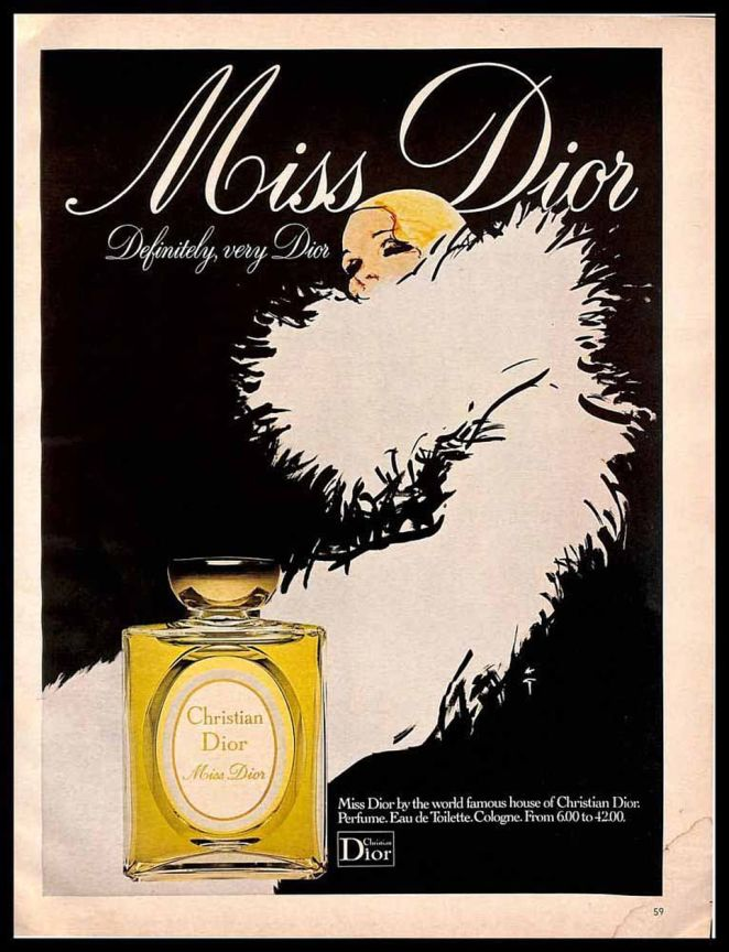 Christian named Miss Dior after Catherine and sprayed the now-famous floral scent in his new fashion house in 1947. Above: An old advert for the perfume