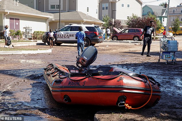 An emergency rescue raft was used to rescue some of the residents