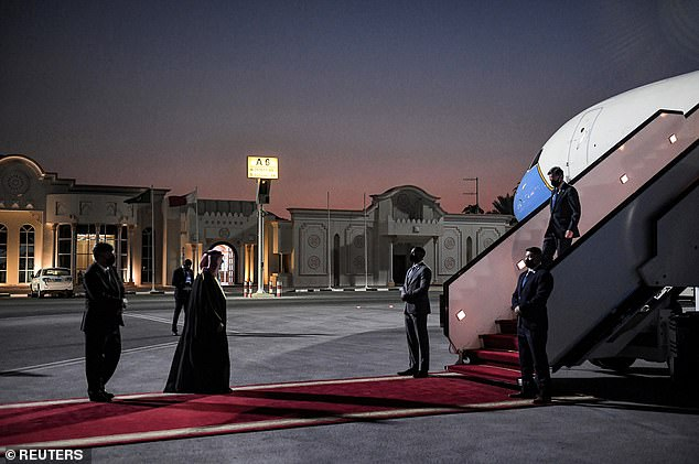 US Secretary of State Antony Blinken arrives at Old Airport in Doha, Qatar on September 6
