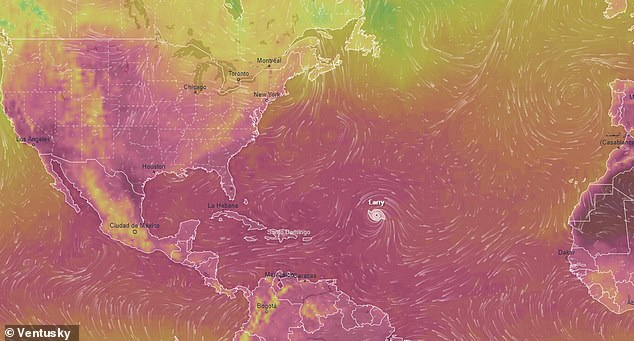 As of Monday, the Hurricane Larry has sustained 120MPH winds - the organization said that hurricane-force winds are expected to extend 70 miles from the storm's center, while tropical-storm-force winds will reach up to 175 miles from the center
