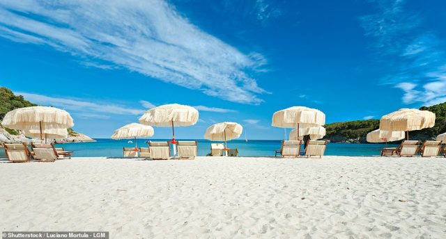 Biodola beach is also 'lovely', says Mary, with a stretch of golden sand as seen above
