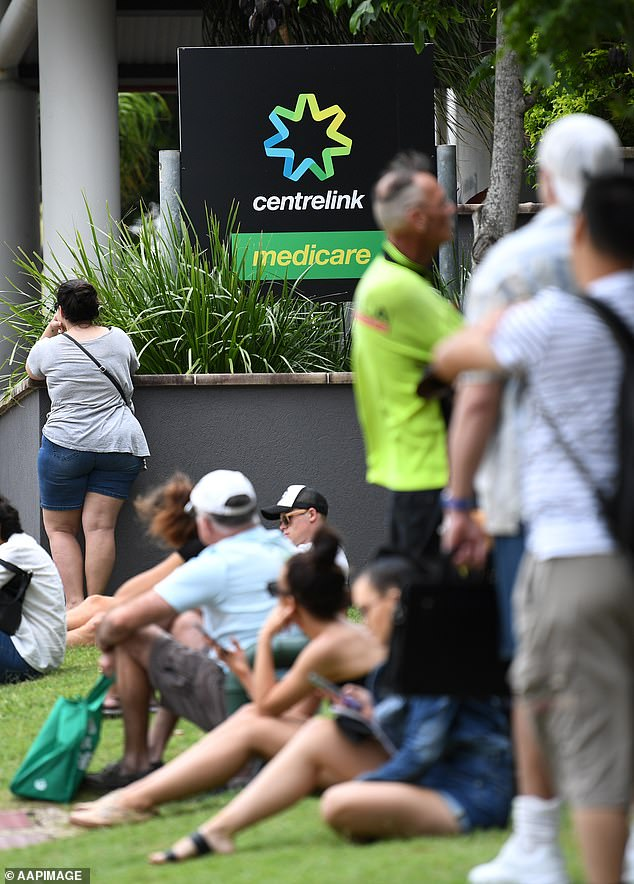 Some Aussies said they had no issues with the Centrelink messenger system while others said it was better than being put on hold for hours on end (pictured Centrelink office in the Gold Coast)