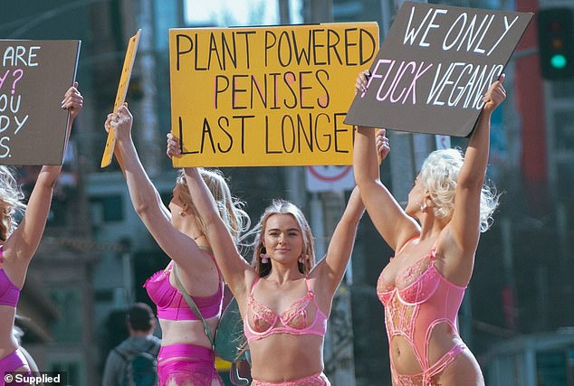 Tash Peterson (pictured, second right) said she knows she gets a lot of attention when she takes her clothes off, and uses it for her public demonstrations