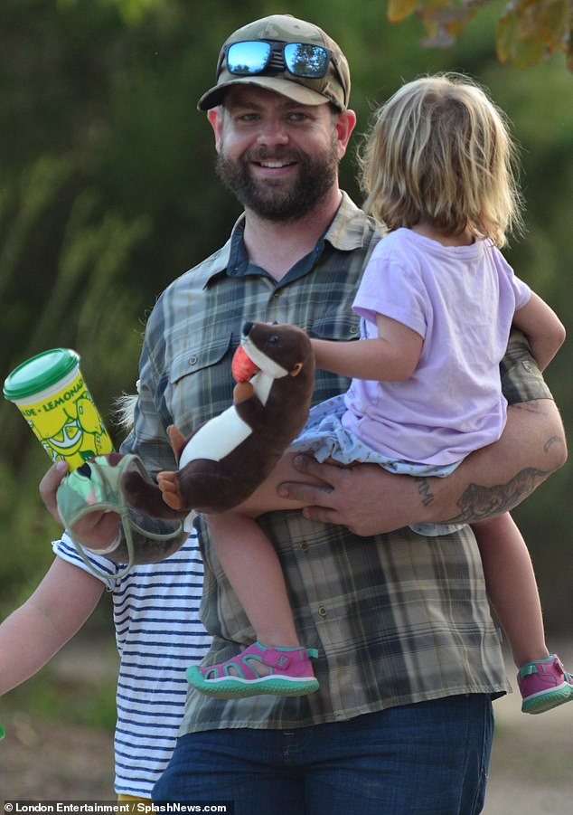 Happy family: Jack Osbourne, 35, was quite the family man as he stepped out with his children and girlfriend Aree Gearhart to the Malibu Chili Cook-Off on Monday