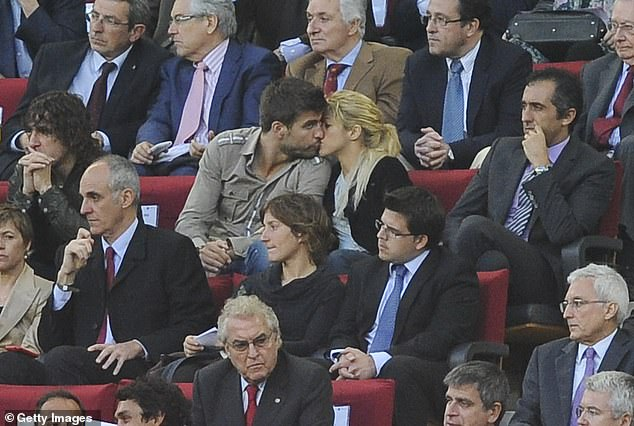Pique (middle left) started going out with the Colombian pop star (middle, right) in 2011