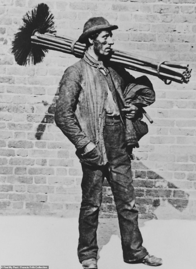 A third image, also taken in Greenwich, shows a pensive chimney sweep posing side-on with his tools balanced on his shoulder. The photo of the man was taken in 1884, 20 years after it became illegal for children to be sent up chimneys