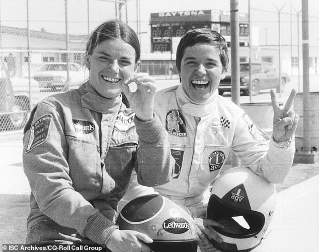 Many photos of Lombardi (right, at Daytona in 1977) during her career are black and white