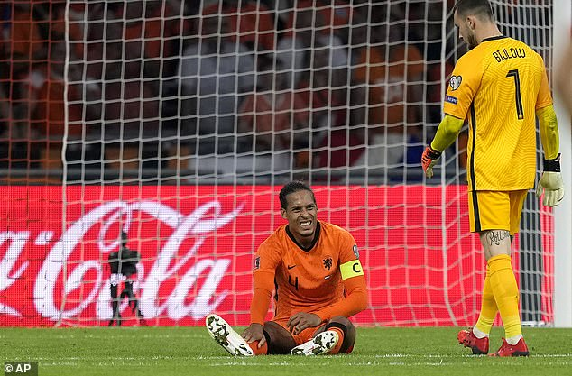 Van Dijk had looked in pain following a collision with a Turkish defender late on in the game