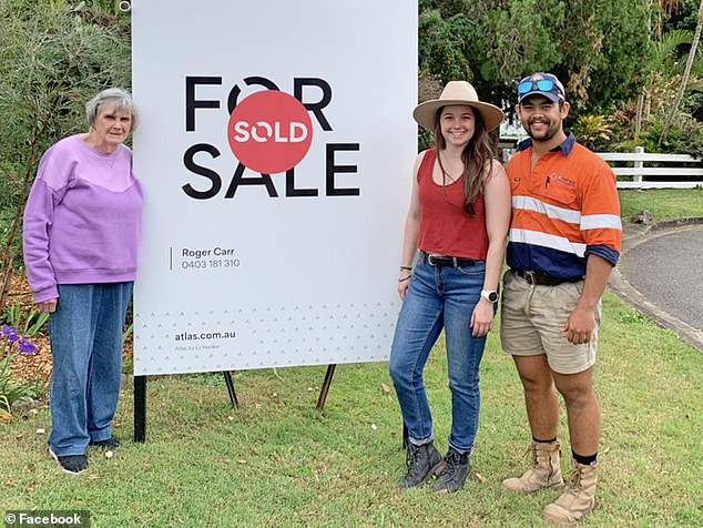 Rosemary Bartlam (left) sold the home she had lived in for more than 50 years in Holland Park West in Brisbane's south-east to young coupleMadeline Pyke-Moran, 23, and Josh Cawse (together right) after they vowed to live in the home rather than demolish it