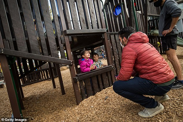 Under Victoria's current restrictions, only children under 12 can visit a playground with one parent or carer