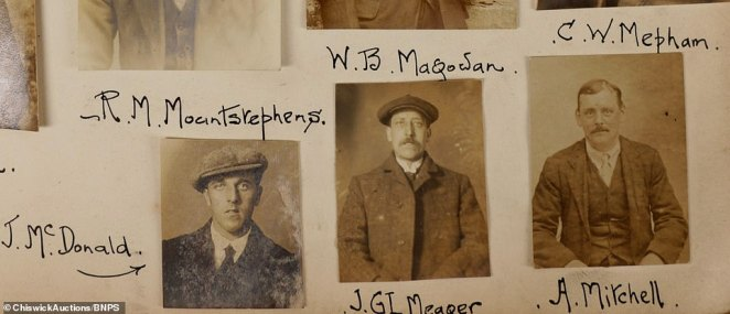 Some of the photos were taken by Treble's after possibly inviting the men for a 'free picture', the auctioneers said. Doing so would have given the police photographic evidence of wanted men. Above: J. McDonald, J GL Meaper and A. Mitchell