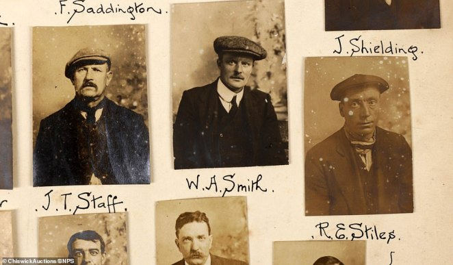 Mr Faraher said: 'Whoever collated it remains a mystery but we know the album was a very early intelligence database for police. Above: Wanted suspects J. T. Staff, W.A. Smith and R. E. Stiles