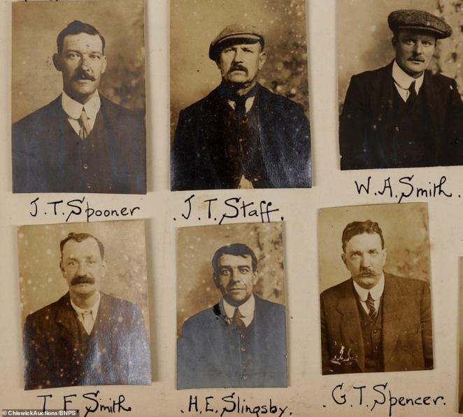 Mr Faraher said that the fact the police spentso much time and resources on the photo archive suggests that the men in question were 'not wanted for stealing a few apples. Instead, they were likely serious criminals involved in gangs and racketeering. Above: Six wanted criminals, including a J.T. Spooner and G.T. Spencer
