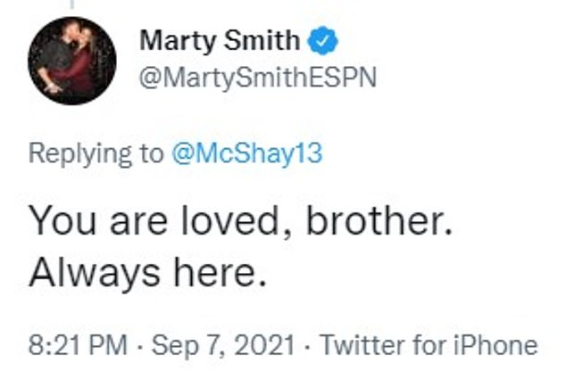 ESPN reporter Marty Smith told McShay 'you are loved, brother'