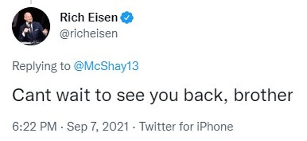 NFL Network host Rich Eisen echoed the chorus of supportive messages for McShay