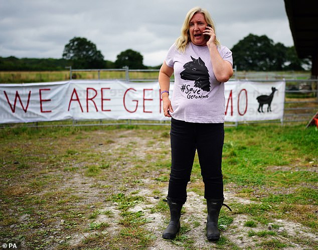 Geronimo's owner Helen Macdonald speaks on her phone after he was removed on August 31